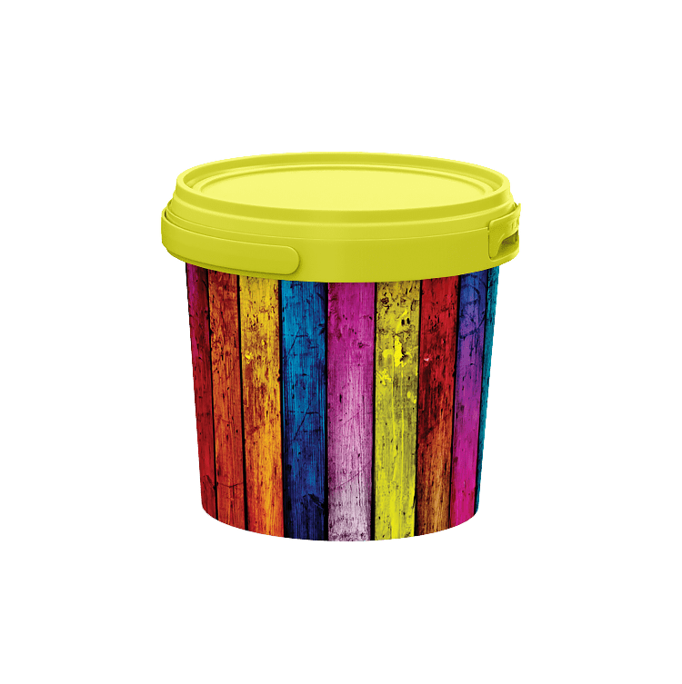 1 litre plastic pail - IML and coloured plastic